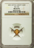 California Fractional Gold, 1872 25C Liberty Octagonal 25 Cents, BG-725, High R.5, MS65Prooflike NGC....