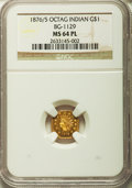 California Fractional Gold, 1876/5 $1 Indian Octagonal 1 Dollar, BG-1129, R.4 MS64 ProoflikeNGC....
