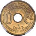 French Equatorial Africa, French Equatorial Africa: French Colony 10 Centimes 1943 MS64NGC,...