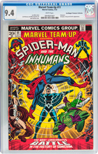 Marvel Team-Up #11 Spider-Man and the Inhumans - Don/Maggie Thompson Collection pedigree (Marvel, 1973) CGC NM 9.4 White...
