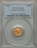 Commemorative Gold, 1922 G$1 Grant No Star MS65 PCGS....