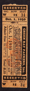 Football Collectibles:Tickets, 1939 Green Bay Packers Vs. Cleveland Rams Full Ticket - Packers Championship Season!...