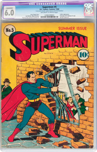 Superman #5 (DC, 1940) CGC Conserved FN 6.0 Off-white to white pages