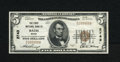 National Bank Notes:Maine, Bath, ME - $5 1929 Ty. 1 The First NB Ch. # 2743. Bright is this $5with officers W.S. Shorey and Oliver Moses. Very F...