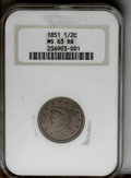 1851 1/2 C MS63 Red and Brown NGC. NGC Census: (26/17). PCGS Population (40/13). Mintage: 147,672. Numismedia Wsl. Price...