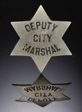 """Political:Ribbons & Badges, """"DEPUTY CITY MARSHALL"""" STOCK BADGE - ca 1890-1910 - This is a six star stock badge 2 1/4"""" diameter in white medal highly pol... (Total: 1 Item)"""