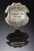 "Western Expansion:Cowboy, ""DEPUTY SHERIFF"" TARRANT COUNTY, TEXAS (FORT WORTH) - ca 1920's -This is a very nice Texas Deputy Sheriff badge, 1 3/4"" dia...(Total: 1 Item)"