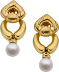 Estate Jewelry:Earrings, Marina B. South Sea Cultured Pearl, Gold Earrings. ...