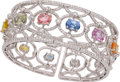 Estate Jewelry:Bracelets, Multi-Color Sapphire, Diamond, White Gold Bracelet. ...