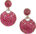 Estate Jewelry:Earrings, Piranesi Ruby, Diamond, Pink Gold Earrings. ...