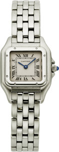 """Estate Jewelry:Watches, Cartier Lady's Stainless Steel """"Panthere"""" Watch. ..."""