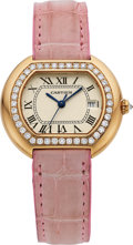 "Estate Jewelry:Watches, Cartier Lady's Diamond, Gold ""Ellipse"" Watch. ..."