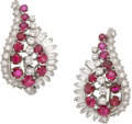 Estate Jewelry:Earrings, Gübelin Ruby, Diamond, Platinum Earrings. ...