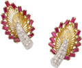 Estate Jewelry:Earrings, Tiffany & Co. Ruby, Diamond, Platinum, Gold Earrings. ...
