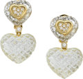 Estate Jewelry:Earrings, Sabbadini Rock Crystal Quartz, Diamond, Gold Earrings. ...