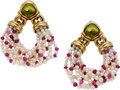 Estate Jewelry:Earrings, Bvlgari Peridot, Ruby, Cultured Pearl, Gold Earrings. ...