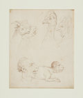 Books:Original Art, [Original Art]. Thomas Rowlandson (English caricaturist,1756-1827). Original Unsigned Ink Study of Grotesque Faces. [N.p.,...
