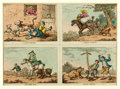 Books:Prints & Leaves, Henry Bunbury (English caricaturist, 1750-1811). Original HandColored Four Panel Engraving. [N.p., n.d., ca. 1780s]. Image ...
