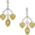 Estate Jewelry:Earrings, Michael Beaudry Colored Diamond, Diamond, Platinum, Gold Earrings. ...