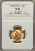 Great Britain, Great Britain: George V gold Sovereign 1925 MS66 NGC,...