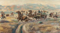 Paintings, GUY M. WELCH (American, 1886-1958). Leading the Herd and Ambush on the Trail (two works), 1932. Each, oil on pan... (Total: 2 Items)