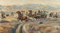 GUY M. WELCH (American, 1886-1958) Leading the Herd and Ambush on the Trail (two works)