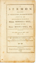 Books:Religion & Theology, Joseph Russell. A Sermon Preached at Princeton (Massachusetts) April 8th, 1798. And Occasioned by the Death of Madam Reb...
