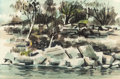 Texas:Early Texas Art - Modernists, MICHAEL FRARY (American, 1918-2005). Down by the Creek.Watercolor on paper. 14 x 21-3/4 inches (35.6 x 55.2 cm) (sight)...