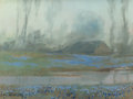 Texas:Early Texas Art - Modernists, FRANZ STRAHALM (American, 1879-1935). Bluebonnets at Dusk.Oil on board. 6-1/4 x 8-1/4 inches (15.9 x 21.0 cm). Signed l...