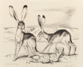 Texas:Early Texas Art - Drawings & Prints, OTIS DOZIER (American, 1904-1987). Jack Rabbits. Lithograph.10-1/2 x 13 inches (26.7 x 33.0 cm) (sight). Ed. 2/28. Sign...