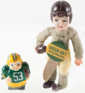 Football Collectibles:Others, 1940's and 1960's Green Bay Packers Dolls Lot of 2....