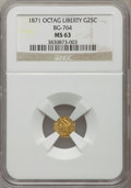 California Fractional Gold: , 1871 25C Liberty Octagonal 25 Cents, BG-764, Low R.6, MS63 NGC. NGCCensus: (1/0). PCGS Population (3/1). ...