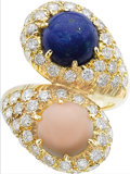 Estate Jewelry:Rings, Diamond, Lapis Lazuli, Coral, Gold Ring. ...