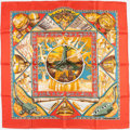 "Luxury Accessories:Accessories, Hermes 90cm Red ""Au Son Du Tam-Tam,"" by Laurence Bourthoumieux SilkScarf. ..."