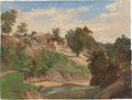 Texas:Early Texas Art - Pre-1900, KARL FRIEDRICH HERMANN LUNGKWITZ (German/American, 1813-1891).On the Pedernales River, circa 1870s. Oil on paper. 10 x ...