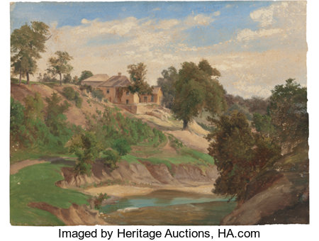 KARL FRIEDRICH HERMANN LUNGKWITZ (German/American, 1813-1891) On the Pedernales River, circa 1870s Oil on paper 10 x ...