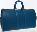 Luxury Accessories:Travel/Trunks, Louis Vuitton Blue Epi Leather Keepall 45 Weekender Bag. ...