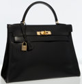 Luxury Accessories:Bags, Hermes 32cm Black Calf Box Leather Retourne Kelly Bag with Gold Hardware . ...