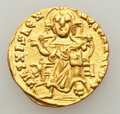 Ancients:Byzantine, Ancients: Basil I the Macedonian (AD 867-886), with Constantine. AVsolidus (20mm, 4.32 gm, 6h)....