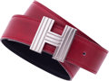 """Luxury Accessories:Accessories, Hermes Rouge H Calf Box & Black Clemence Leather Belt with Palladium Hardware. Very Good Condition. 1.25"""" Width x 34.5..."""