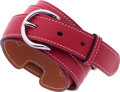 "Luxury Accessories:Accessories, Hermes 95cm Rouge Casaque Swift Leather Belt with PalladiumHardware. Pristine Condition. 2"" Width x 37.5""Length. ..."