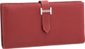 "Luxury Accessories:Bags, Hermes Rouge H Chevre Leather Bearn Wallet with Palladium Hardware.Very Good to Excellent Condition. 7"" Width x 3.5"" ..."