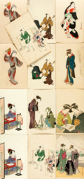 Miscellaneous:Postcards, [Japanese Postcards]. Group of Thirteen with Hand-Coloring. ShimbiShoin, ca. 1930's. Measure 5.5 x 3.5 inches. Some with st...