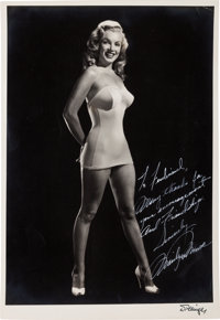 A Marilyn Monroe Signed Black and White Photograph by Laszlo Willinger, Circa 1949