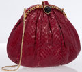 Luxury Accessories:Bags, Judith Leiber Red Snakeskin Clutch Bag with Cabochon Stones &Shoulder Strap . ...