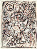Latin American:Contemporary, CARLOS ALFONZO (Cuban/American, 1950-1991). Untitled, 1987.Acrylic on paper. 30 x 22-1/4 inches (76.2 x 56.5 cm). Signe...