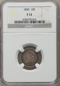 Bust Dimes: , 1835 10C Fine 12 NGC. NGC Census: (17/459). PCGS Population(18/663). Mintage: 1,410,000. Numismedia Wsl. Price for problem...