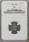 Bust Dimes: , 1827 10C Good 6 NGC. NGC Census: (1/273). PCGS Population (5/400).Mintage: 1,300,000. Numismedia Wsl. Price for problem fr...