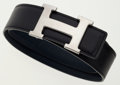 Luxury Accessories:Accessories, Hermes 80cm Black Calf Box & Indigo Epsom Leather Reversible HBelt with Palladium Hardware. ...