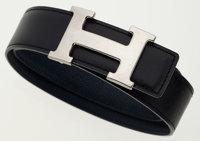 Hermes 80cm Black Calf Box & Indigo Epsom Leather Reversible H Belt with Palladium Hardware